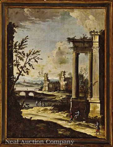 a pair of capriccio landscapes with figures amid antique ruins 2 works by giovanni paolo panini