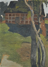birkenstämme vor scheune (birch trees in front of a barn) by paula modersohn-becker