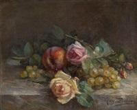 jetée de fleurs avec fruits by marguerite dielman