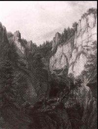 bewaldetes felsental mit rastenden wanderern an der quelle einer grotte by ferdinand runk