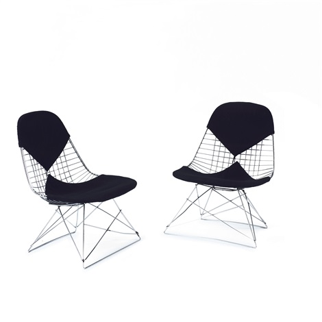Two Wire Mesh Chairs On Lkr Base By Charles And Ray Eames