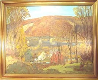 the trestle bridge in autumn by c. harry allis