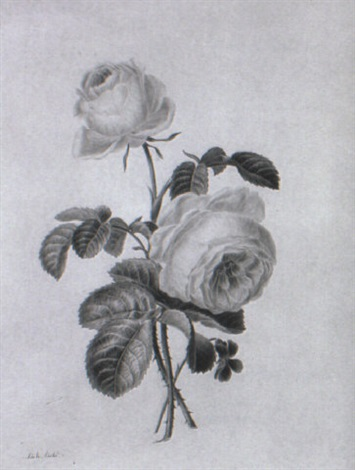 two pink roses and a violet by adèle riché