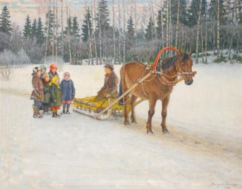 winter sleigh with children by nikolai petrovich bogdanov belsky