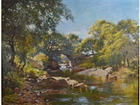 a stone bridge over a river in a wooded landscape by john blake mcdonald