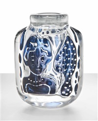 the blue lady, an important ariel vase by edvin öhrström