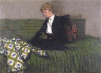 a lady sewing on a green bed by william brooker