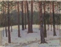 snowy wooded landscape by wladimir g. krikhatzkij