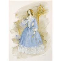 costume design for beverly sills as violetta in verdi's la traviata, act ii by jose varona