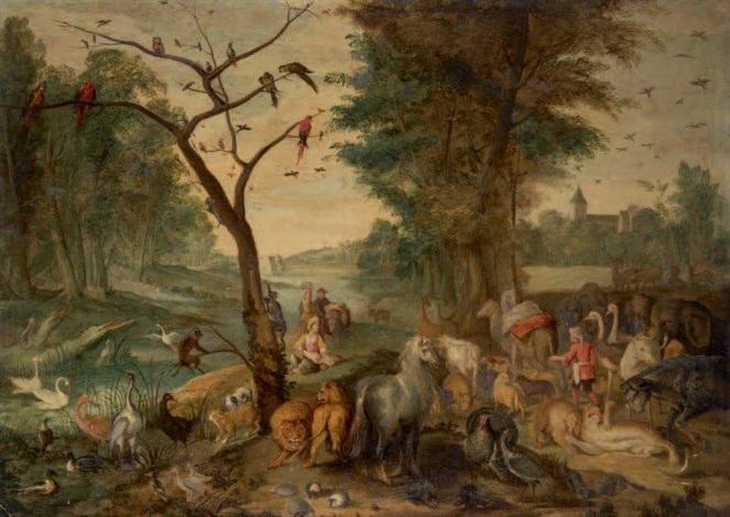 sous-bois animé de personnages et d'animaux by jan brueghel the younger