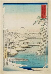 fuji sanjû rokkei (die 36 ansichten des fuji). blatt: tôto sukiyagashi (das ufer des sukiyagashi bei der östlichen hauptstadt) by ando hiroshige