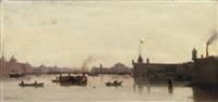 view of the peter-paul fortress and the stock exchange, st. petersburg by petr petrovich vereshchagin