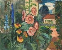 garten mit malven und rittersporn (+ landscape, verso) by hans jüchser