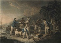 the slave trade (+ african hospitality; 2 works) (after george morland) by john raphael smith