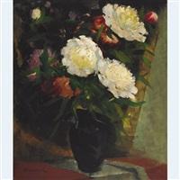 peonies in a vase by olga aleksandrovna (princess of storfyrstinde)