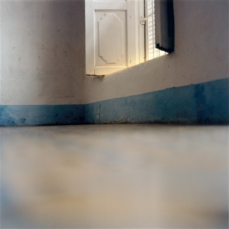 iceland shower door window with blue skirting board 2002 2 works by elisa sighicelli