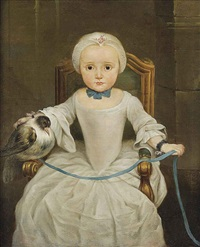 portrait of a young girl seated wearing a white dress and a bonnet, a tame bird resting on the arm of her chair, tied with a blue ribbon by christian lindner