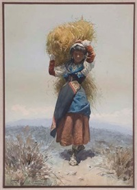 italian peasant girl carrying a bundle of hay by domenico de angelis