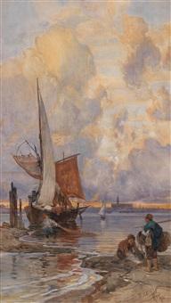 fischer und segelboot im abendrot by franz theodor aerni