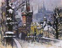 blick auf das winterliche prag mit karlsbrücke und hradschin by erhard theodor astler