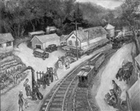 locomotive pulling into west cornwall station, connecticut by george baer
