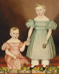 portrait of two children by joseph whiting stock