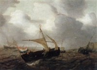dutch fishing vessels in choppy seas by hans (johan) goderis