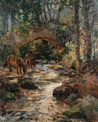 packhorse bridge on the horner water, exmoor by alexander carruthers gould