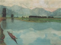 a shikara on a lake, kashmir by harold markwick