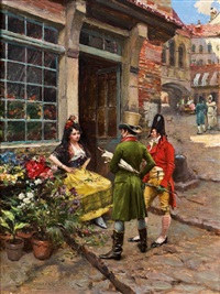die blumenverkäuferin by henri victor lesur