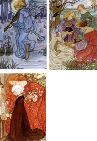 illustrations for christina rossetti's goblin market (37 works) by emma harrison