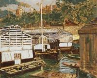 bateaux lavoirs au pont-marie by bernard raoul lachevre