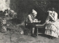 couple playing cards by vincenzo volpe