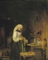 ein mädchen schmückt den hut ihres geliebten by johann friedrich karl kreul