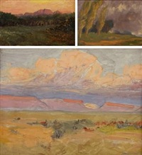 poplar trees in a stormy landscape; clouds over distant moutains and early evening in a clearing (3 works) by allerley glossop