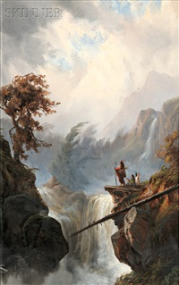 vista with native americans on an outcropping (+ view of the canadian rockies at dusk; 2 works) by alexander françois loemans