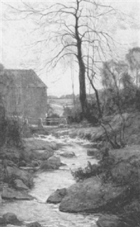 a stream by a cottage, quimperle by nathaniel, r.h.a. hill