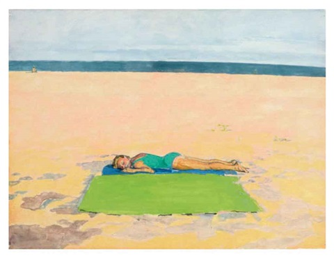bather with green towel by graham nickson