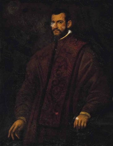 portrait of a gentleman traditionally identified as andrea bracadri three quarter length in a brown embroidered coat by domenico tintoretto