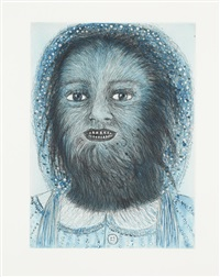 wolf girl (from the blue prints series) by kiki smith