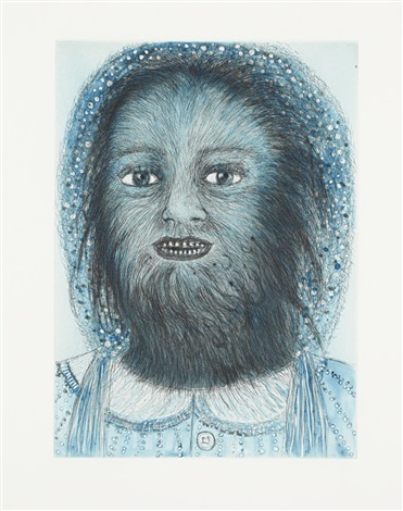 wolf girl from the blue prints series by kiki smith