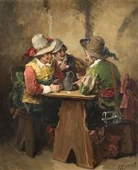 trois mousquetaires attablés et mousquetaire séduisant une jeune femme avec un joueur de fifre (pair) by george appert