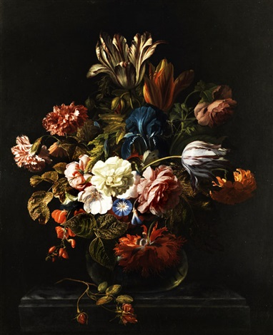 stilleben mit blumen in vase by simon pietersz verelst