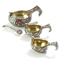 three kovshi with matching miniature spoon (various sizes; set of 4) by maria semyonova