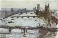 the thames from shell-mex house i and manhattan from brooklyn bridge (pair) by richard colson