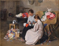 girls sewing by yakov bilit