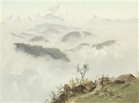 himalayan range with village of tongloo by alexander scott
