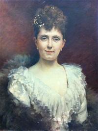 portrait de jeune femme en blanc by edouard bernard debat-ponsan