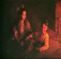 a young girl and boy by the fireside by marion boyd allen