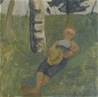 junge am birkenstamm im gras liegend (young man lying in grass next to a birch tree) by paula modersohn-becker